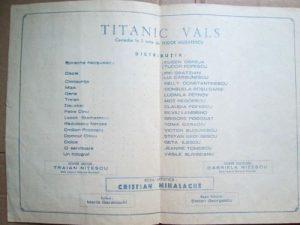 Foaie de distribuție a spectacolului Titanic Vals, regia Cristian Mihalache Sursa foto: Grup Facebook Toma Caragiu In memoriam - https://www.facebook.com/groups/186100435239547/photos/