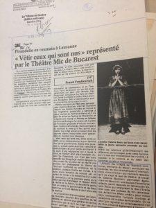 Cronica La tribune de Geneve - Sa-i imbracam pe cei goi, regia Catalina Buzoianu