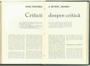 Masa rotundă a revistei: Criticii despre critică (au participat criticii George Banu, Sebastian Costin, Valentin Silvestru, Natalia Stancu, Andrei Strihan), revista Teatrul nr. 4/1972