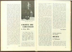 """Mira Iosif, Cronica dramatică: """"Macbeth"""" de Shakespeare (Teatrul Municipal din Ploieşti) în Revista Teatrul nr. 5/1976, pp. 43-45"""