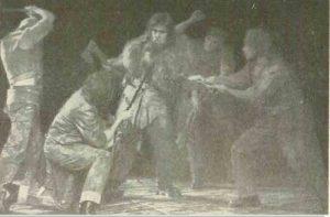 Filoctet – imagine din spectacolul Filoctet, Teatrul Naţional 'Vasile Alecsandri' - Iaşi, 10.04.1967, sursă foto: Revista Teatrul, Nr. 6/1969, pp.27-29