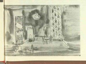 Schiță decor din spectacolul Mi se pare romantic de Radu Cosașu- Teatrul de Comedie Bucureşti, data premierei: 18.10.1961