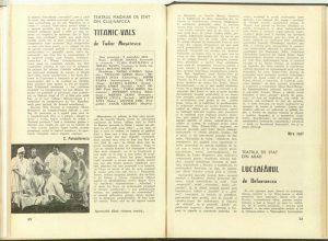 """Mira Iosif, Cronica dramatică: """"Titanic-vals"""" de Tudor Muşatescu (Teatrul Maghiar de Stat din Cluj-Napoca) în Revista Teatrul nr. 12/1979, pp. 52-53"""
