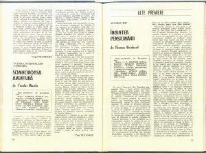 """Paul Tutungiu, Cronica dramatică: """"Somnoroasa aventură"""" de Teodor Mazilu (Teatrul Naţional din Timişoara) în Revista Teatrul nr. 2/1982, p. 44."""