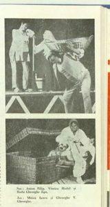 """Foto din Maria și copiii ei – sursa: Valeria Ducea: Cronica dramatică: """"Maria şi copiii ei"""" de Osvaldo Dragún (Teatrul Dramatic din Braşov), revista Teatrul nr. 5/1977 - http://www.cimec.ro/Teatre/revista/1977/Nr.5.anul.XXII.mai.1977/imagepages/13727.1977.05.pag044-pag045.html"""