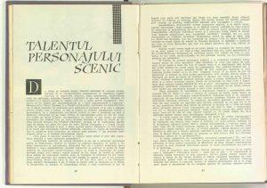 Talentul personajului scenic, Revista Teatrul nr. 5/1963
