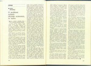 O problemă actuală: eficienţa economică, în teatru (Nr. 7-8 - 1980)