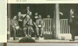Scenă din spectacolul Procesul domnului Caragiale de Mircea Ștefănescu- Teatrul de Comedie Bucureşti, data premierei: 06.06.1962