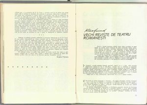 Răsfoind vechi reviste de teatru româneşti, Revista Teatrul nr. 1/1966