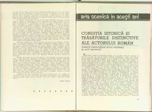 Condiţia istorică şi trăsăturile distinctive ale actorului român, Revista Teatrul nr. 8/1969