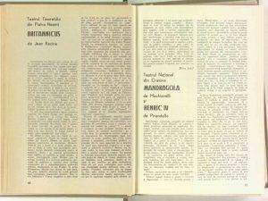 """Mira Iosif, Cronica dramatică: """"Britannicus"""" de Jean Racine (Teatrul Tineretului Piatra Neamţ) în Revista Teatrul nr. 5/1970, pp. 96-97"""