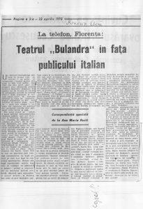 Ana Maria Narti, Teatrul Bulandra în fața publicului italian - România Liberă 23 aprilie 1970, sursa material: Teatrul Bulandra