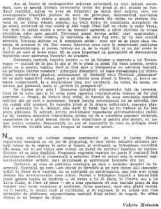 """Valeriu Moisescu, """"...Dar eu am văzut idei"""", în Teatru, nr. 10 / 1963, p. 70"""