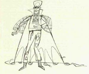 Costumul doctorului Graziano – schițe de costume de Devis Grebu pentru spectacolul Bertoldo la curte de Massimo Dursi, regia Valeriu Moisescu, 1963, Teatrul de Stat Ploiești (sursa foto: Teatrul, nr. 10 / 1963, p. 65)