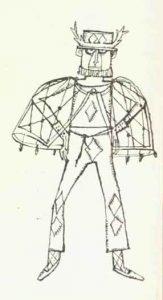 Costumul regelui – schițe de costume de Devis Grebu pentru spectacolul Bertoldo la curte de Massimo Dursi, regia Valeriu Moisescu, 1963, Teatrul de Stat Ploiești (sursa foto: Teatrul, nr. 10 / 1963, p. 65)