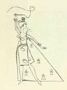 Costumul reginei – schițe de costume de Devis Grebu pentru spectacolul Bertoldo la curte de Massimo Dursi, regia Valeriu Moisescu, 1963, Teatrul de Stat Ploiești (sursa foto: Teatrul, nr. 10 / 1963, p. 64)