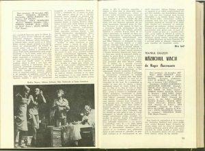 """- Mira Iosif, Cronica dramatică: """"Efectul razelor gamma asupra anemonelor"""" de Paul Zindel (Teatrul Mic), revista Teatrul nr.1/1978, pp. 51-53"""