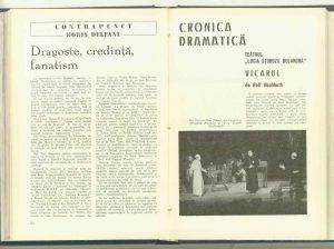 Ileana Popovici, Cronică dramatică – Vicarul, revista Teatrul nr. 3/1972