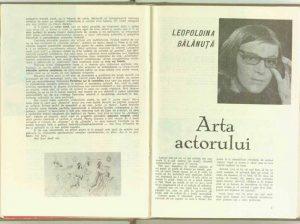 Leopoldina Bălănuță, Arta actorului, 1969