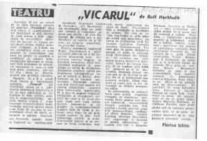 """""""Vicarul"""", Florica Ichim, Munca, 1972"""