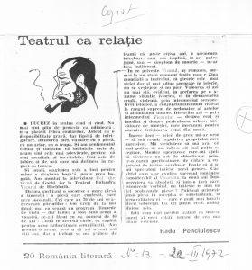 Teatrul ca relație, Radu Penciulescu, România literară, 1972