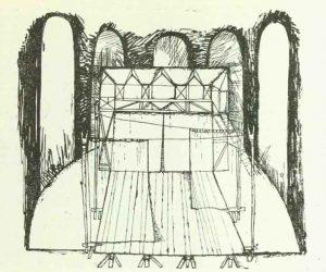 Schiță de decor de Devis Grebu pentru spectacolul Bertoldo la curte de Massimo Dursi, regia Valeriu Moisescu, 1963, Teatrul de Stat Ploiești (sursa foto: Teatrul, nr. 10 / 1963, p. 69)