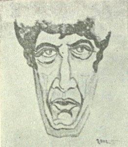 Toma Caragiu, caricatură de Valeriu Moisescu (sursa foto: Teatrul, nr. 6 / 1987, p. 23)