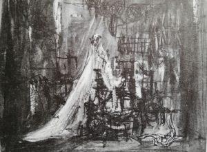 Vizita bătrânei doamne, 1963, schiță