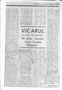 """• Natalia Stancu, Vicarul de Rolf Hochhuth pe scena Teatrului """"Lucia Sturza Bulandra"""", 29.02.1972"""