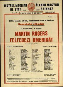 Afis premiera 1953 regizor Harag Gyorgy